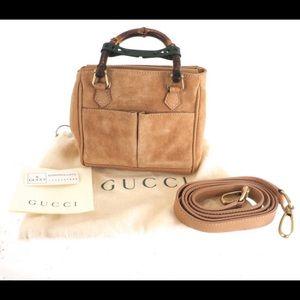 Vintage Gucci Tan Beige Suede Bamboo Handles
